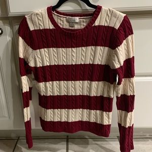 RED AND CREAM STRIPED SWEATER